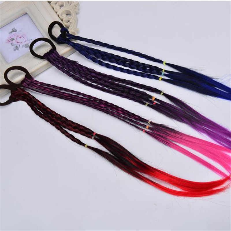 Nuevas pelucas coloridas para niñas, adornos para el pelo, diademas de goma, banda para el cabello, accesorios para el cabello para niñas y bebés