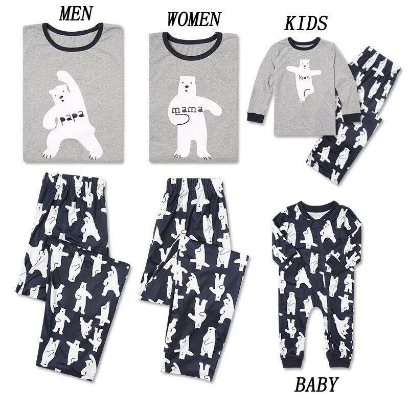 Christmas Family Pajamas Set Xmas Clothes Parent-child Suit Home Sleepwear Nightwear Baby Kids Dad Mom Matching Family Outfits
