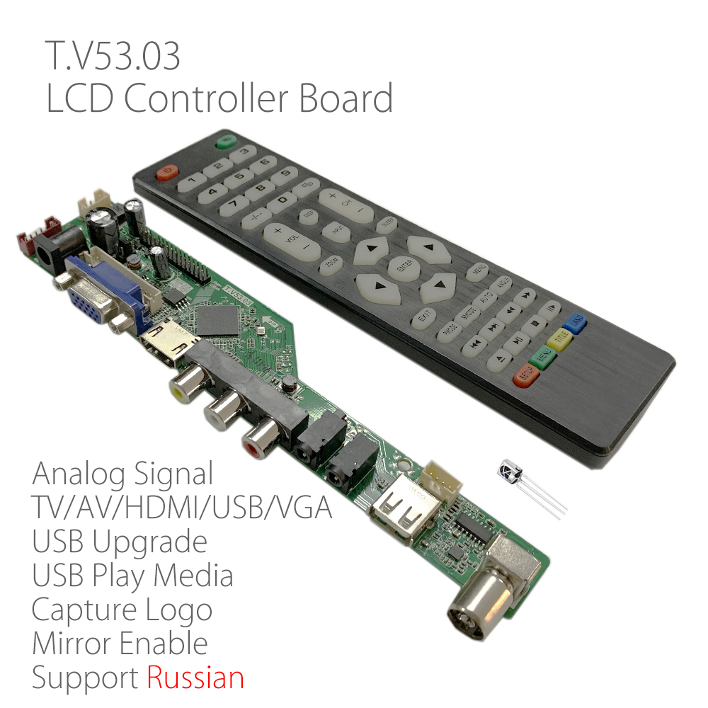 (FREE GIFT) NEW T.V53.03 Universal LCD LED TV Controller Driver Board TV/PC/VGA/HDMI/USB Interface 8.9-42 inch Matrix Russian(China)