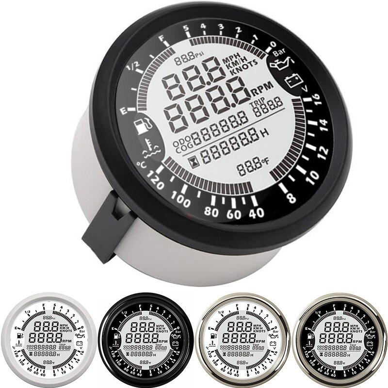 85mm 6 en 1 numérique multifonction jauge compteur de vitesse GPS tachymètre température de l'eau niveau de carburant voltmètre jauge de pression d'huile rpm mètre