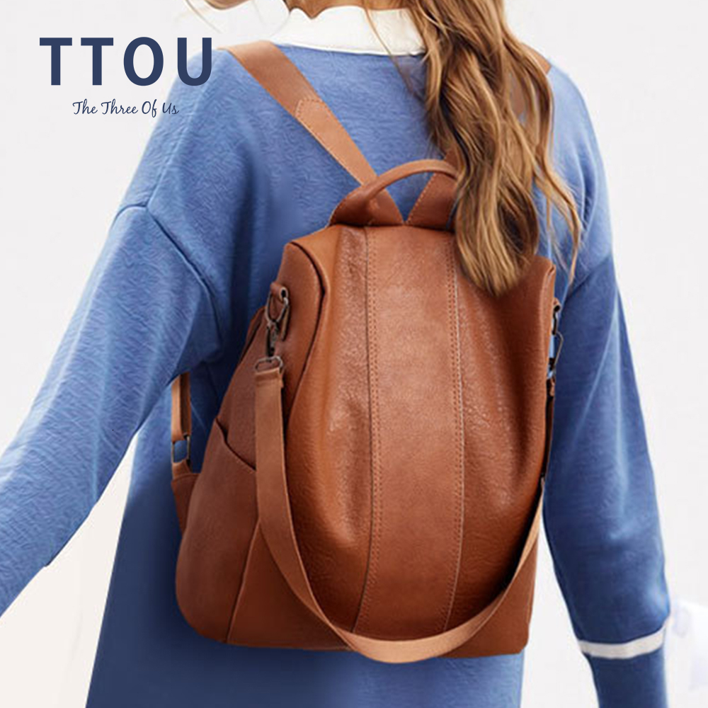 New Casual Womens Leather Elegant Backpack Anti-Theft Rucksack Vintage School Shoulder Black Bag Female Travel Backpacks
