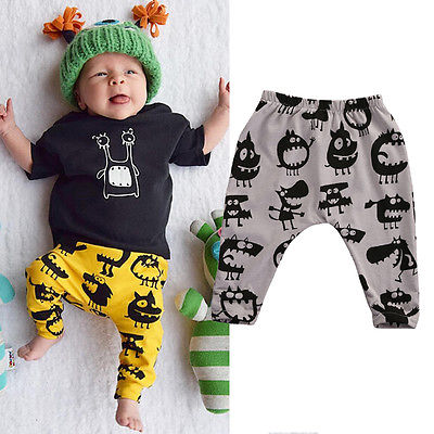 Newborn Infant Baby Boys Casual Cotton Little Monster Print Bottom Long Pants Tops Leggings Trousers 0-3Years