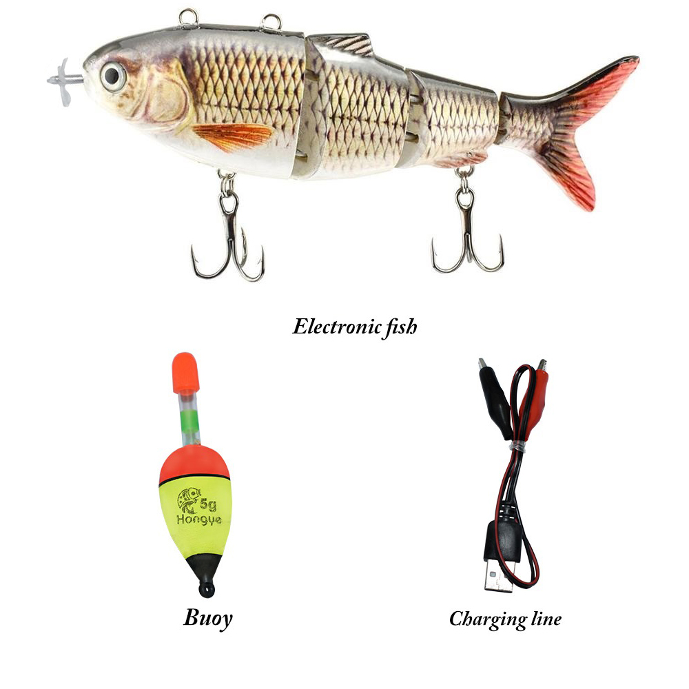 lure Robotic Swimming Lure USB Rechargeable LED Light Multi Jointed Swimbait Inteli Self-Propelling Electric Fishing Tackle