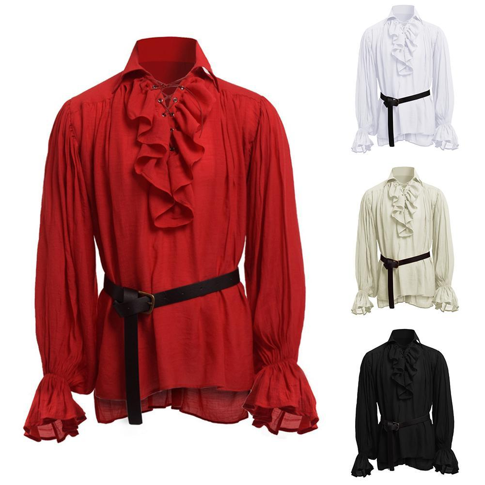 Men Solid Color Plicated Stand Collar Long Sleeve Medieval Shirt Cosplay Costume