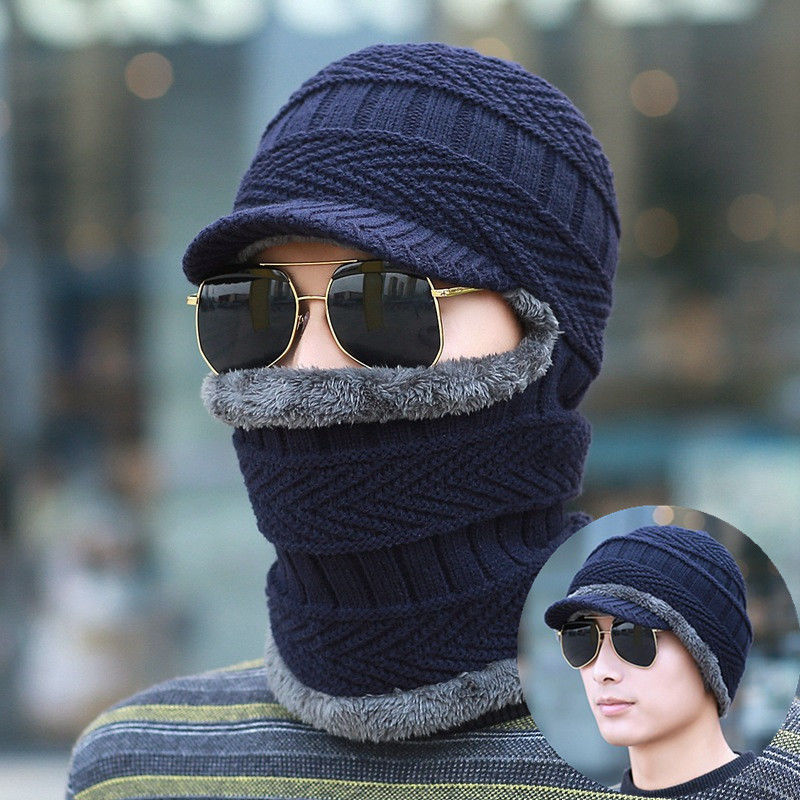 Thickening Knitted Wool Cap Men Winter Hat Keep Warm Bonnet Balaclava Face Mask Hats Women Beanie Dual-use Hat & Scarf