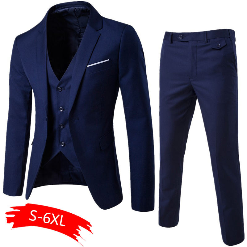 2020 Men's Fashion Slim Suits Men's Business Casual Clothing Groomsman Three-piece Suit Blazers Jacket Pants Trousers Vest Sets