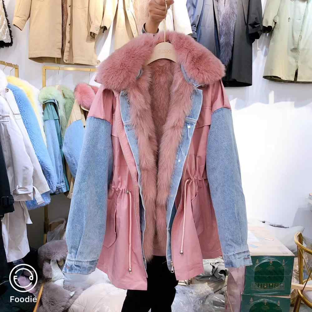 冬のコートの女性リアルファーパーカーデニム毛皮キツネの毛皮のコートの襟と裏地 2019 新ファッション韓国の高級 cl