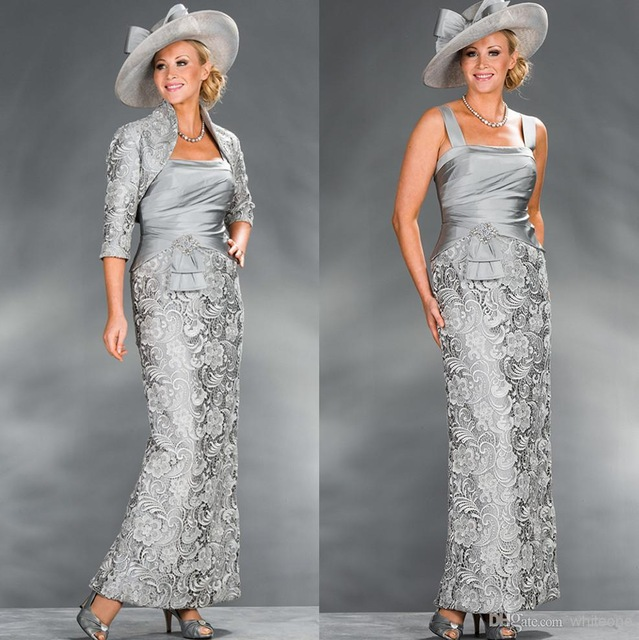 Dresses Jacket Wedding Silver Mother-Of-The-Bride Plus-Size Beaded Sheath Lace Long  title=