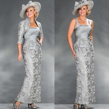 Vestidos de plata de la madre de la novia vestidos de encaje con cuentas con chaqueta de talla grande largos de la madre del novio para la boda