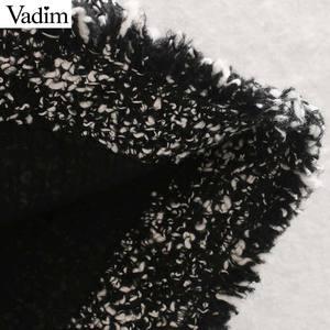 Image 4 - Vadim נשים אלגנטי טוויד midi חצאית חזרה פיצול כיסים אירופאי סגנון משרד ללבוש בסיסי מפנק נקבה מקרית חצאיות BA858