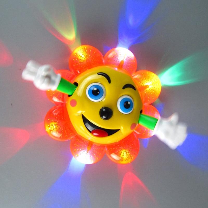 Electric Music Lighting Sunflower Universal Led Light Colorful 360 Degree Rotation Toy Flower Kids Gift
