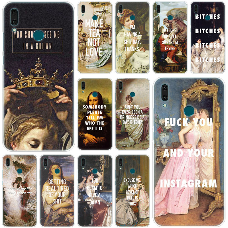 Hot Classic Art Memes Quotes Painting Silicone Case for Huawei Mate 30 20 10 Lite Pro Y9 Y7 Y6 Prime Y5 2019 2018 Pro 2017 Cover image