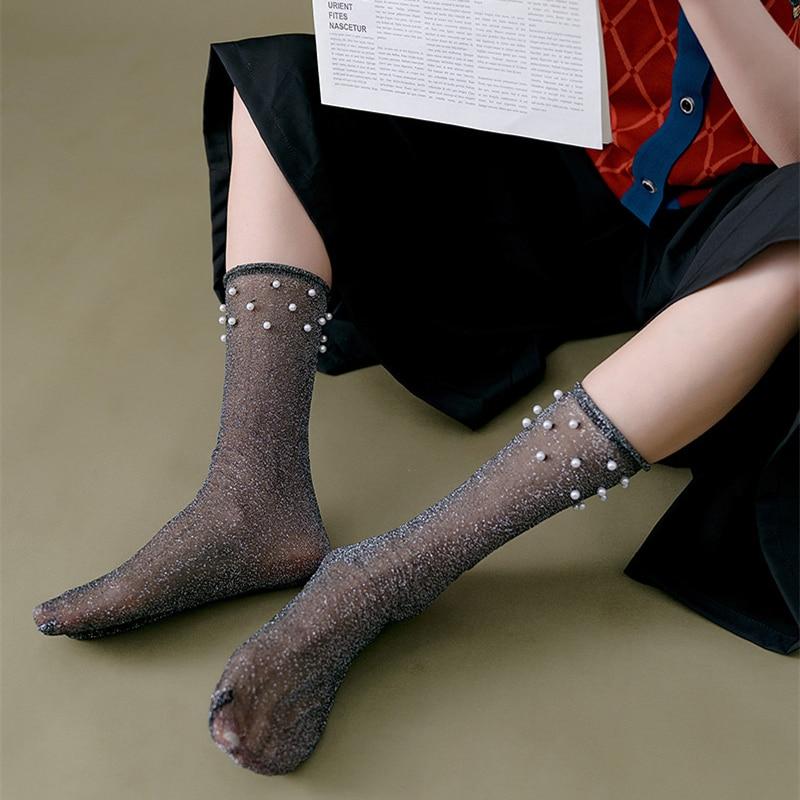 Funny Women Fashion Socks 2020 Spring New Lace Color Breathable Long Socks Fashion Cute Thin Women's Socks Woman
