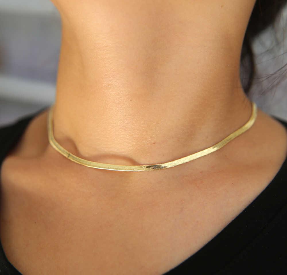 Women Men Silver Gold Color Cool Metal Collar Necklace Flat Chain Choker