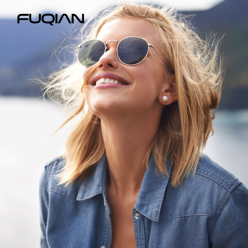 FUQIAN Round Polarized Sunglasses Women Men Classic Small Metal Sun Glasses Male Vintage Anti-glare Driving Eyeglasses UV400