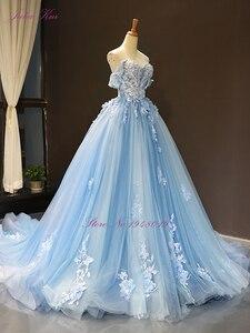 Image 5 - Julia Kui Wunderschöne Ballkleid Hochzeit Kleid Himmel Blau Farbe Mit Elegante Appliques 3D Blumen Hochzeit Kleid Weg Von Der Schulter