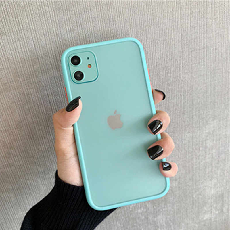 Mint Hybrid Sederhana Matte Bumper untuk iPhone 11 Kasus Pro Max XR X 6 S 8 7 Plus TPU Lembut Shockproof Silikon Clear Cover