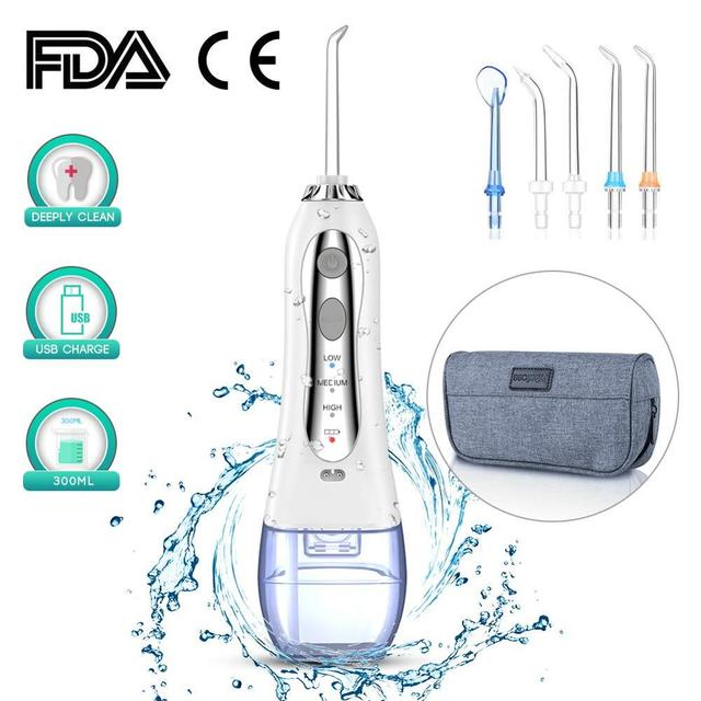 300ML Oral Irrigator Portable Water Dental Flosser 3mode Electric Teeth Cleaner USB Rechargeable Dental Irrigator Teeth Cleaning