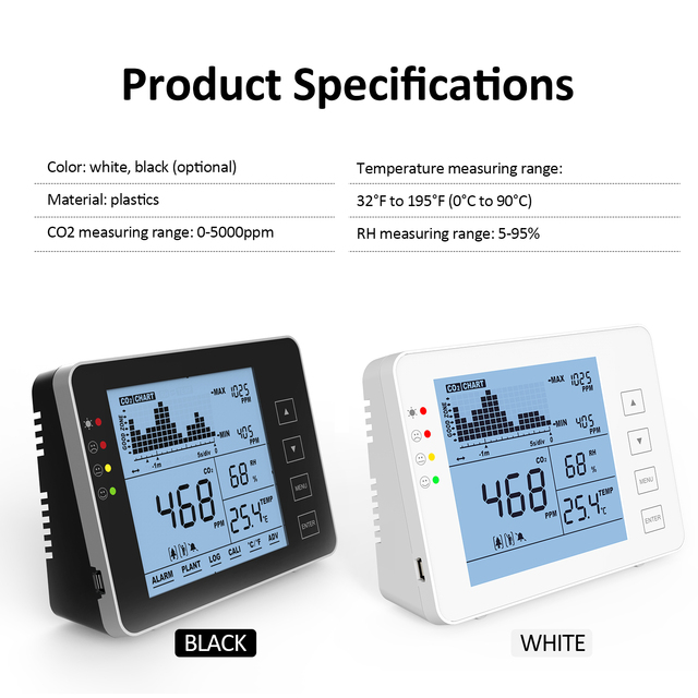Professional Carbon Dioxide Detector Multifunctional Air Quality Monitor Gas Detector CO2 Tester CO2 Meter Monitor