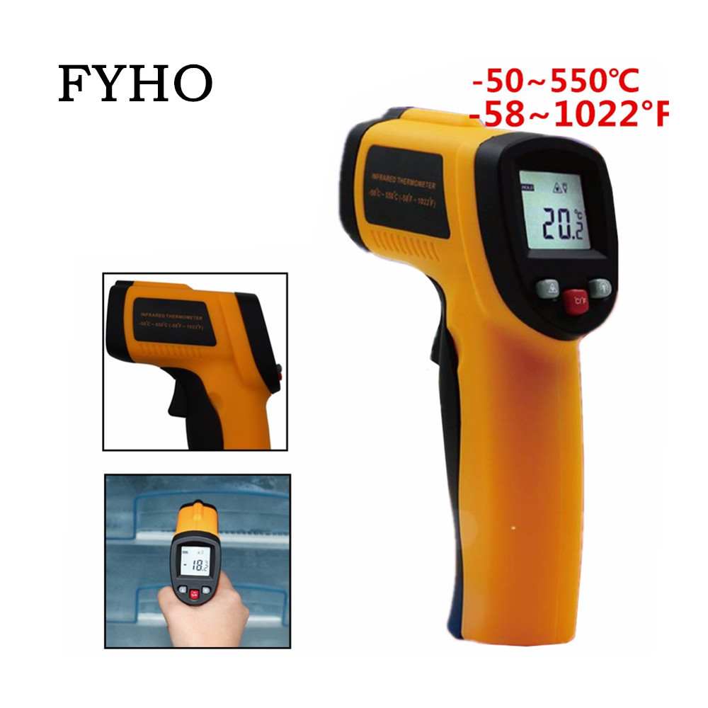 -50-550 Degree Termometer Non-Contact Display Digital Infrared Red Laser Thermometer Temperature Meter HY51