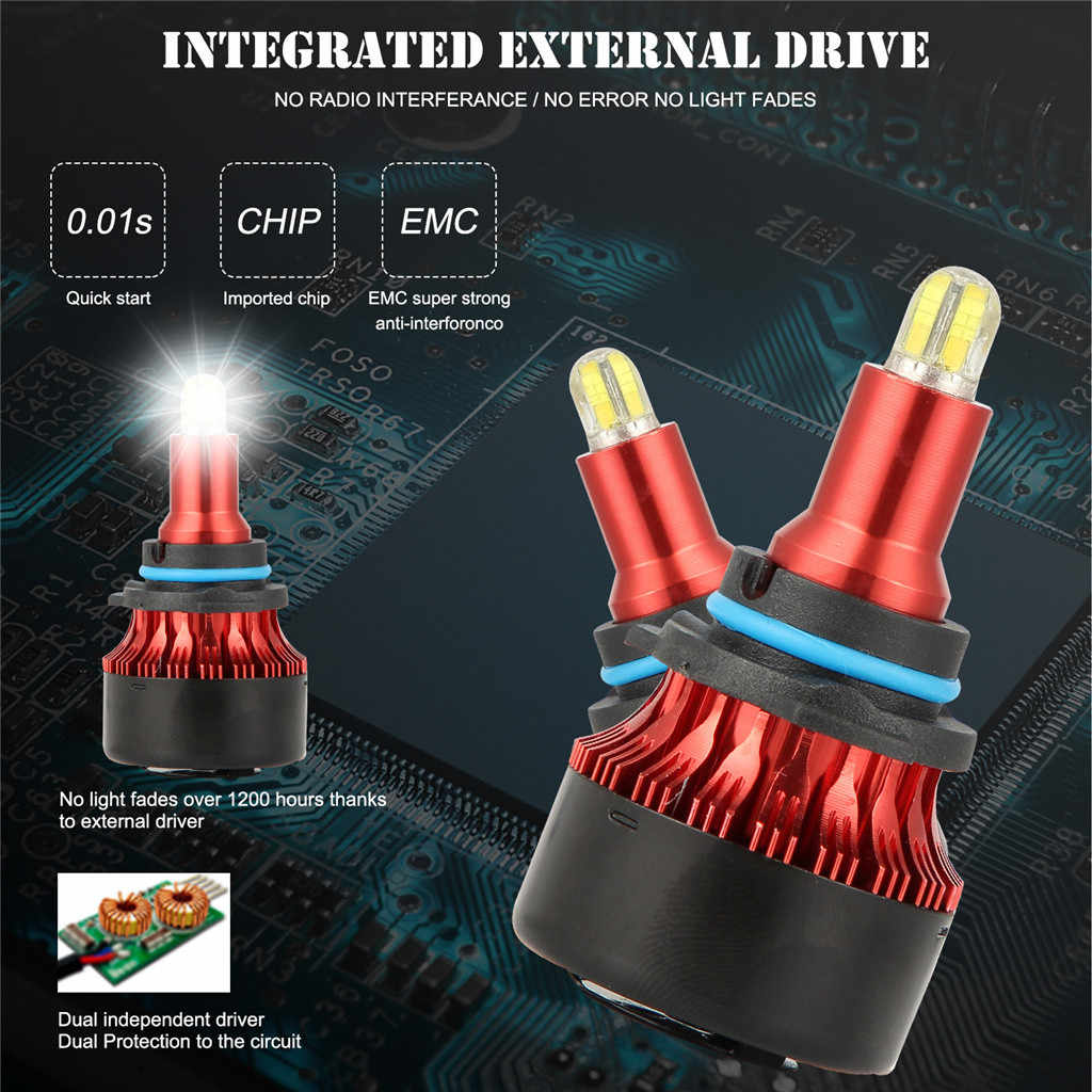 All-in-one aluminum profile 8-sides 3D LED Headlight Conversion Kit Bulbs 120W 18000LM High Power White 6000K 9006#P10