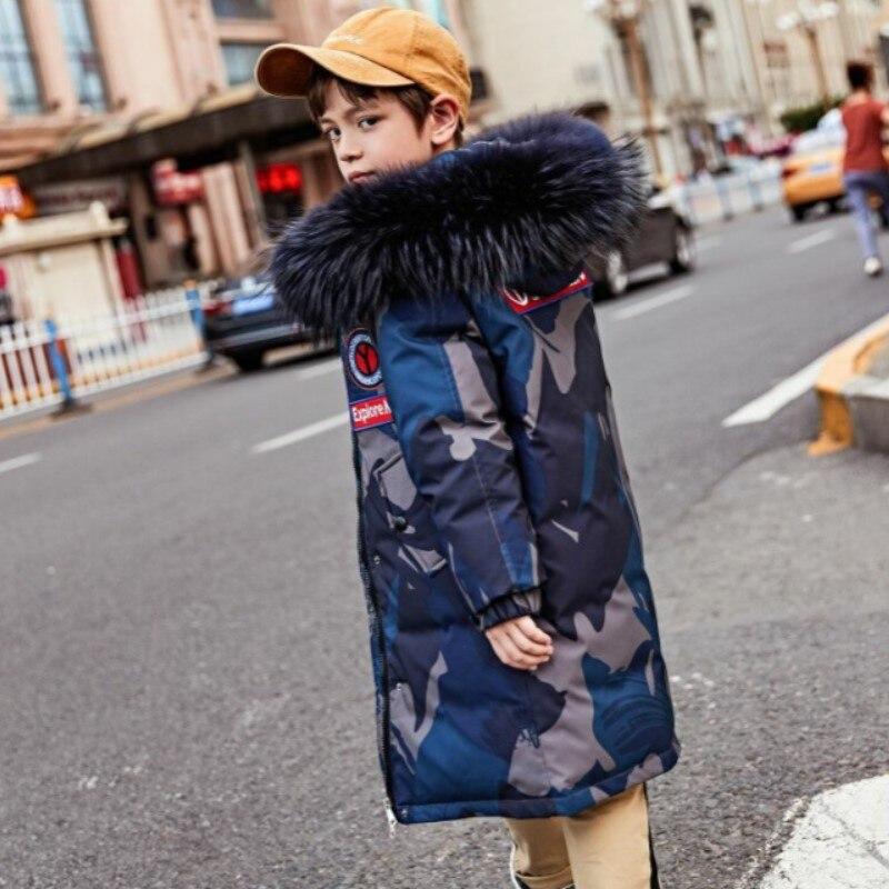 Adolescent garçons 80% duvet de canard blanc épaississement manteau de neige hiver russie Parkas à capuche chaud pour le nouvel an enfants vêtements