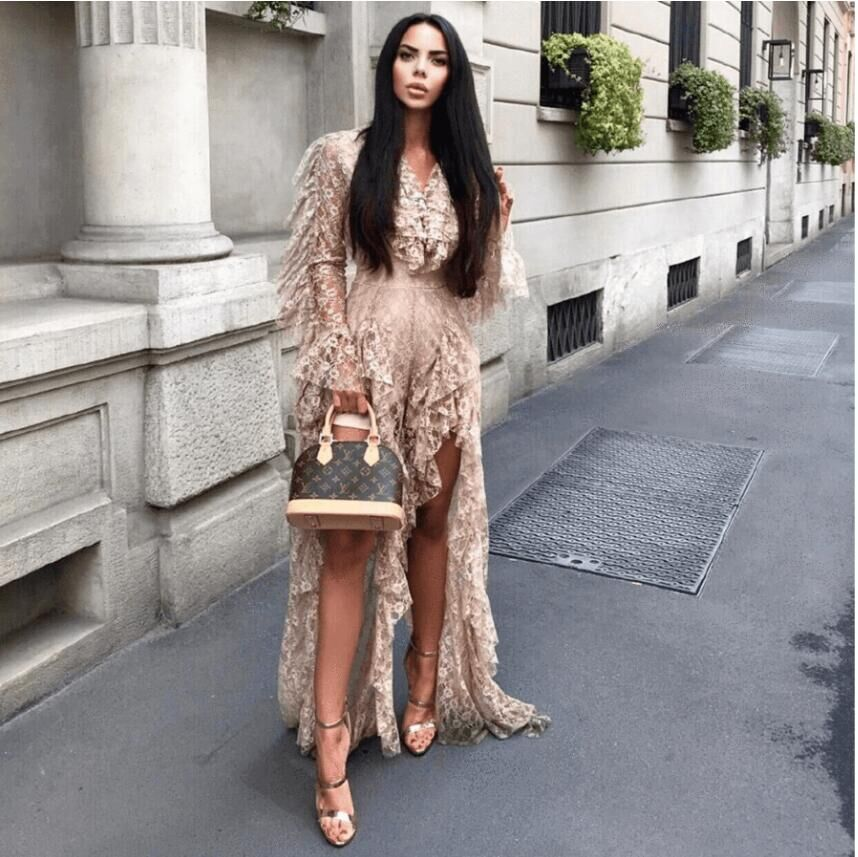 Yesexy 2020 Sexy Deep V Neck Ruffles Long Sleeve Female Overalls Elegant High Split See Through Rompers Women Jumpsuit VR9561