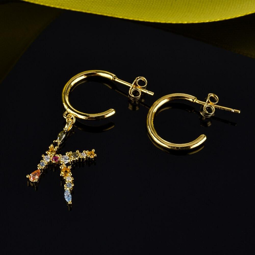 Image 4 - Andywen 925 prata esterlina cristal letra a m aros gota balançar brinco alfabeto k inicial e charme brincos feminino 2020 jóiasBrincos compridos   -