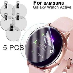 5 pces para samsung galaxy watch active SM-R500 protetor de tela relógio inteligente capa de filme à prova de explosão de alta definição anti-choque