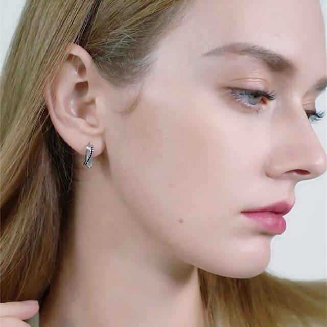 925 Sterling Silver Jewelry Black Spinel Stone Cute Stud Earrings 1
