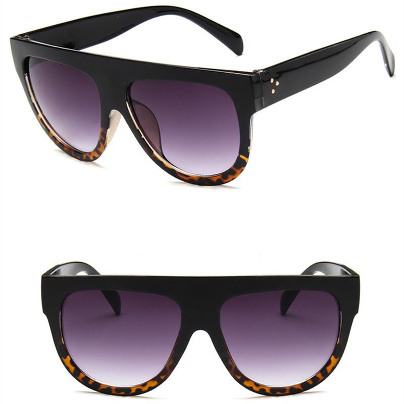 Lady Flat top Oversized Sunglasses Women Retro Female Big Frames UV400 Cat Eye Sunglass Electroplated Rivet Sun Glasses Shades