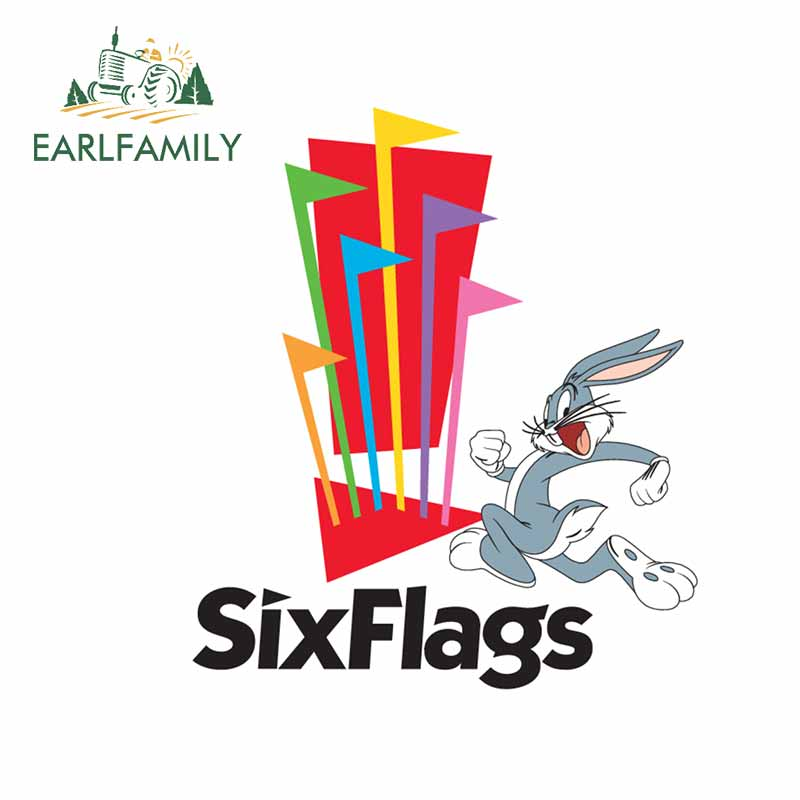 EARLFAMILY 13cm X 11.3cm For Six Flags Car Stickers And Fine Decal Vinyl Waterproof Occlusion Scratch Car Bumper Window Stickers