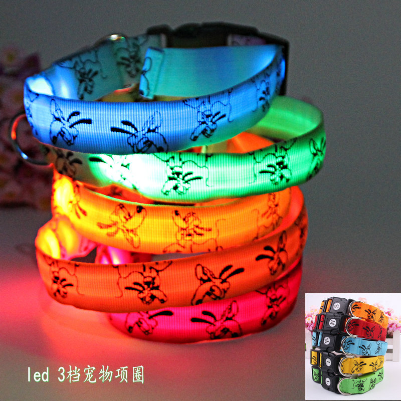 LED Pet Collar 2.5 Cm Flash Shining Dog Neck Ring Small, Medium And Large Cats Night Light Neck Band