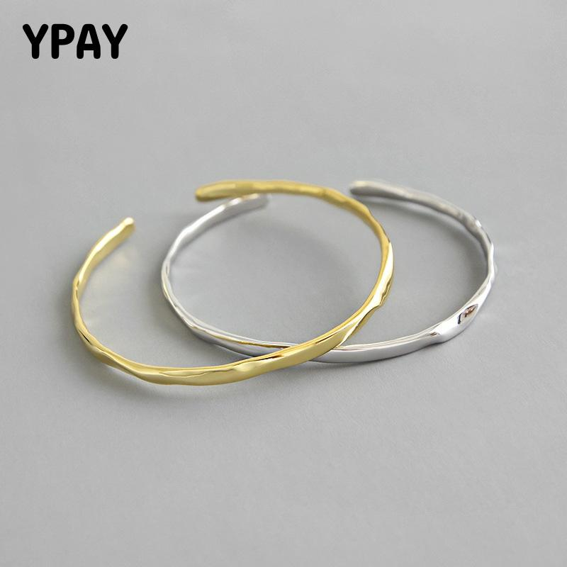 YPAY Authentic 925 Sterling Silver Charm Bracelets Bangles Minimalism Concave Open Cuff Bangle Friendships Fine Jewelry YMB058