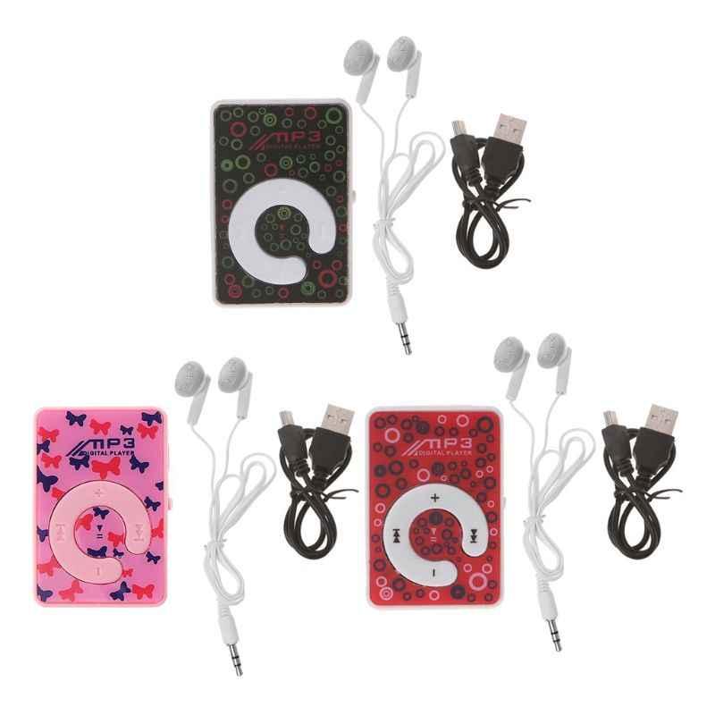 Mini Kẹp Chấm Vòng Tròn Hoa Văn Nhạc MP3 Người Chơi Hỗ Trợ Thẻ TF Mini USB Cáp Tai Nghe Chụp Tai