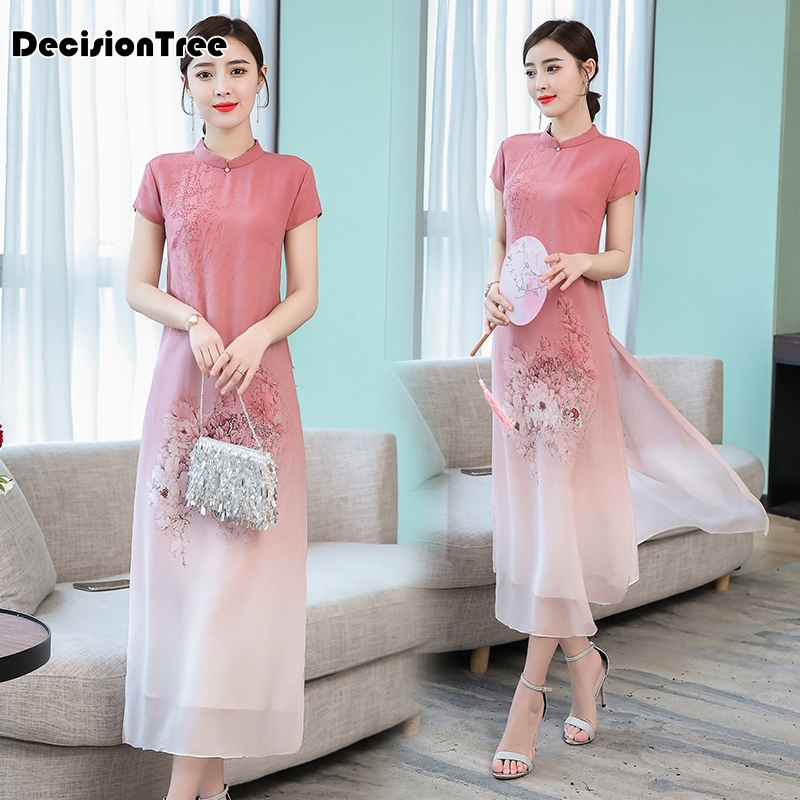 2019 Improved Cheongsam Dress Ao Dai Dress Ao Dai Vietnam Vietnamese Ao Dai Vietnam Asian Dress Ao Dai Dress Vietnam Clothing