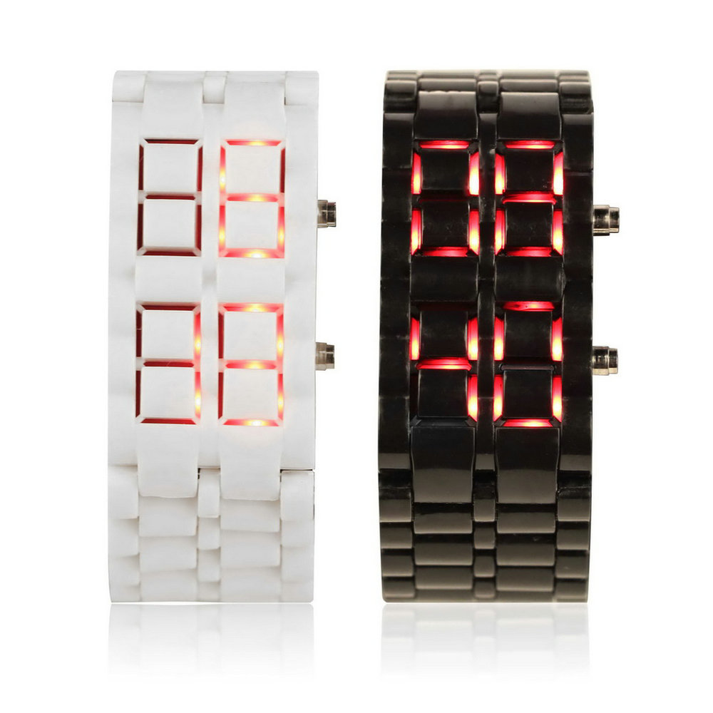 Fashion Men Women Lava Iron Samurai Plastic LED Bracelet Watch Wristwatch Sports Style Relogio