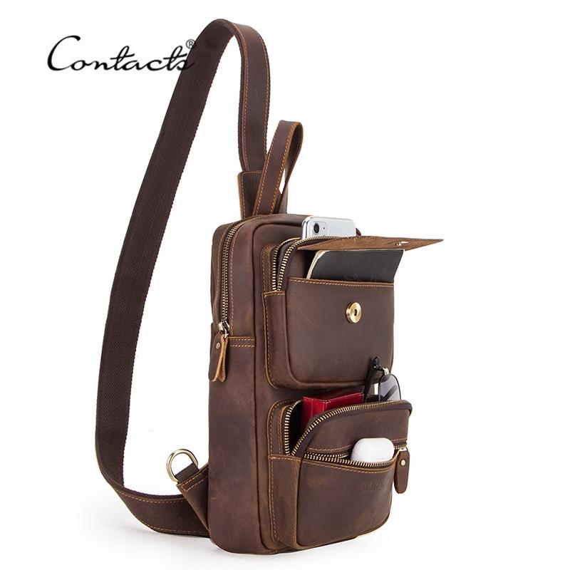 Contacts Genuine Leather Mens Messenger Crossbody Shoulder 7.9 iPad Bag College School Travel Handbag Brown
