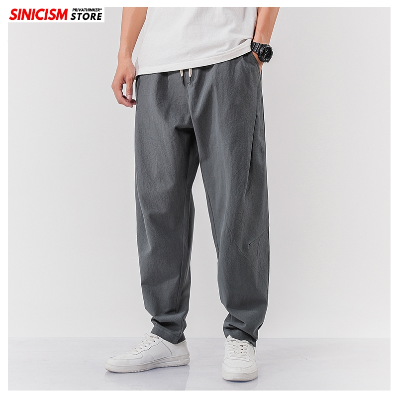 Sinicism Store Men Summer Chinese Style Harem Pants Mens Oversize Joggers Pants 2020 Male Loose Pants Cotton Linen 5XL Bottoms