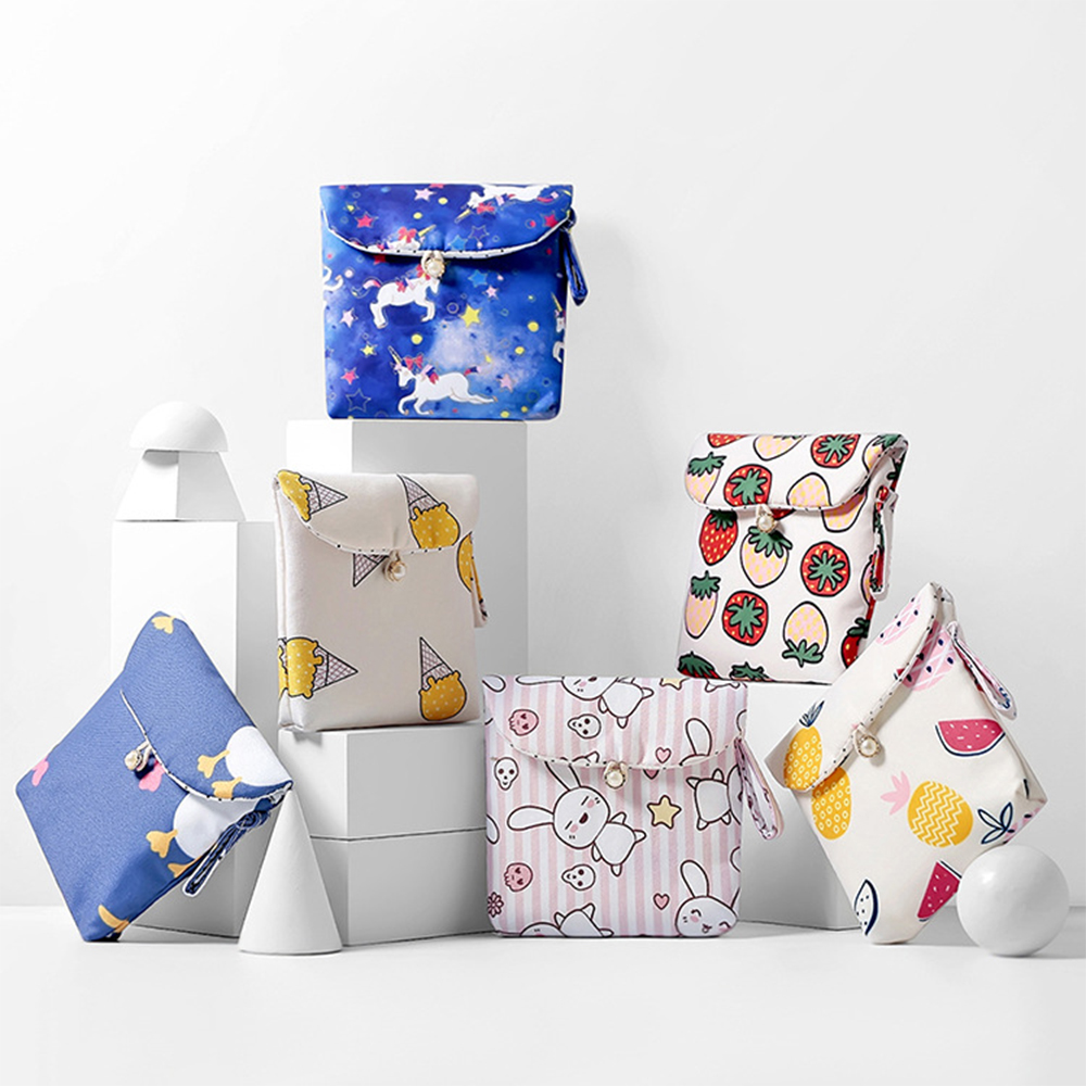 Women Sanitary Napkin Storage Bags Cotton Pads Package Bags Coin Jewelry Organizer Credit Card Pouch Case Fashion Towel Cute Bag(China)