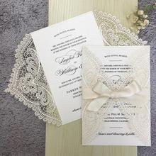 Laser Cutting Wedding Invitations with RSVP Cards Ivory Invitation Cards - Set of 50 pcs rsvp