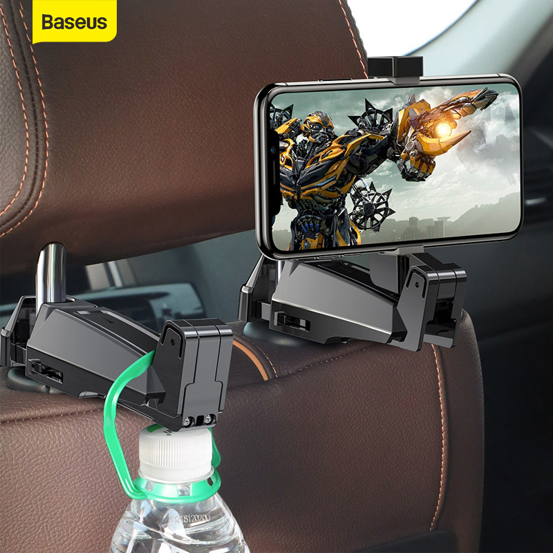 Baseus Car Back Seat Hook Hanging Storage Mount Holder Mobile Phone 4.0-6.5 Inch Universal 360 Rotation Auto Car Phone Holder