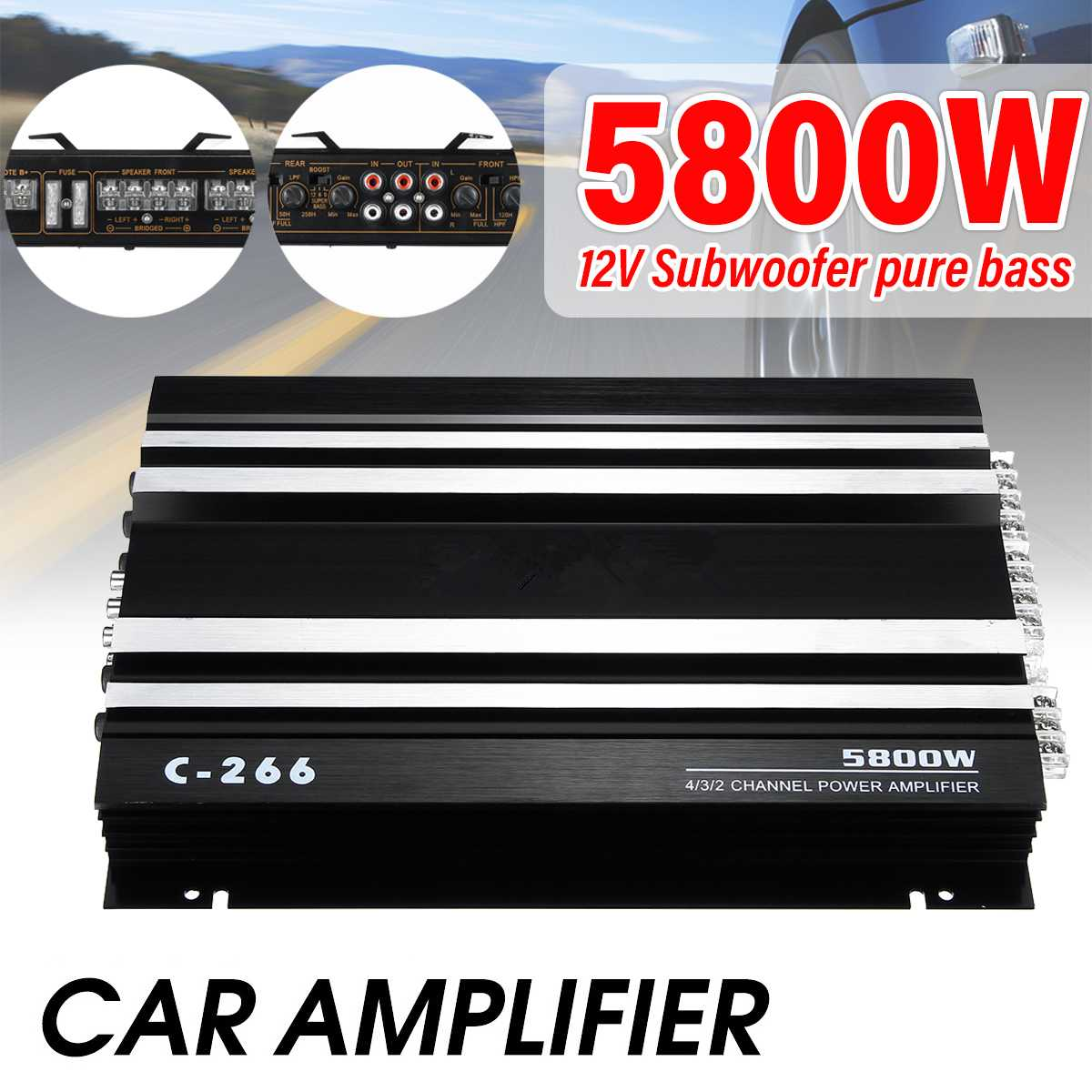 12V 5800W Car Amplifier Multichannel Powerful Car Audio Subwoofer Aluminum Alloy Vehicle Power Stereo Amp Car Sound Amplifiers