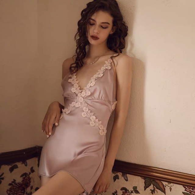 Munllure Gợi Cảm Suspender Mùa Xuân Mỏng Phần Băng Lụa Váy Ngủ Nhà Dịch Vụ Ren Dây Lưng Đẹp Cám Dỗ