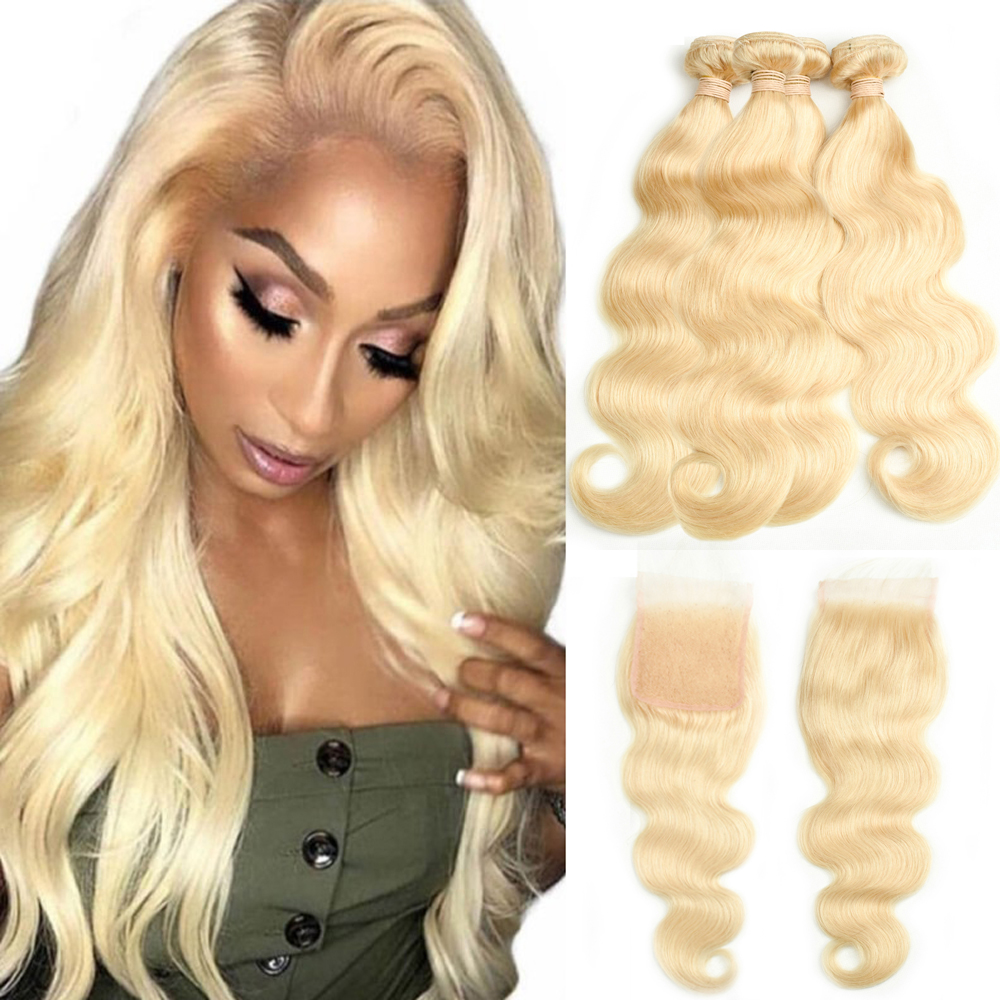 Beaudiva 613 Blonde Bundles With Closure Malaysian Body Wave Remy Human Hair Weave Honey Blonde 613 Bundles With Closure image