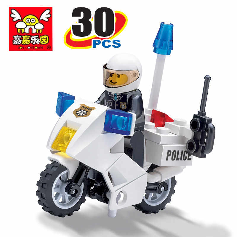 30pcs Police Motorcycle Car Technic Assembled Model Compatible Legoinglys City Building Blocks Toys for Children DIY Gifts