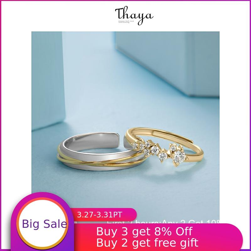 Thaya Silver 925 Jewelry Rings Gold Star Track Rail Original Design For Women Bijoux Female Gift Fine Jewelry