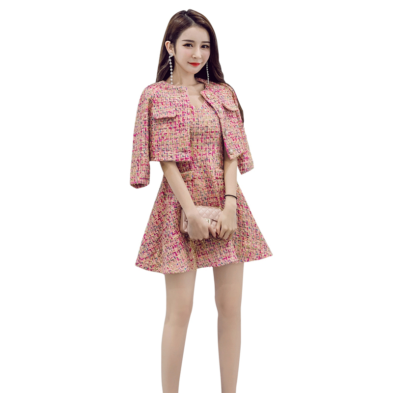 Fashion Tweed Suit Woman High Quality Two Piece Sets Autumn Clothes Women Tweed Mini Dresses + Long Sleeve Short Blazer Jacket