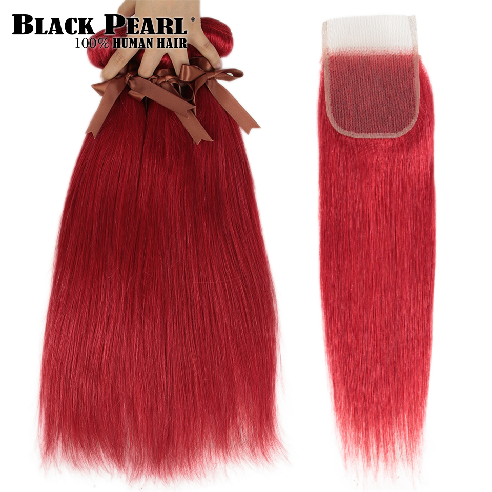 Black Pearl Red  Bundles With Closure Brazilian Remy Straight Human Hair Orange  Bundles With Closure Free Shipping