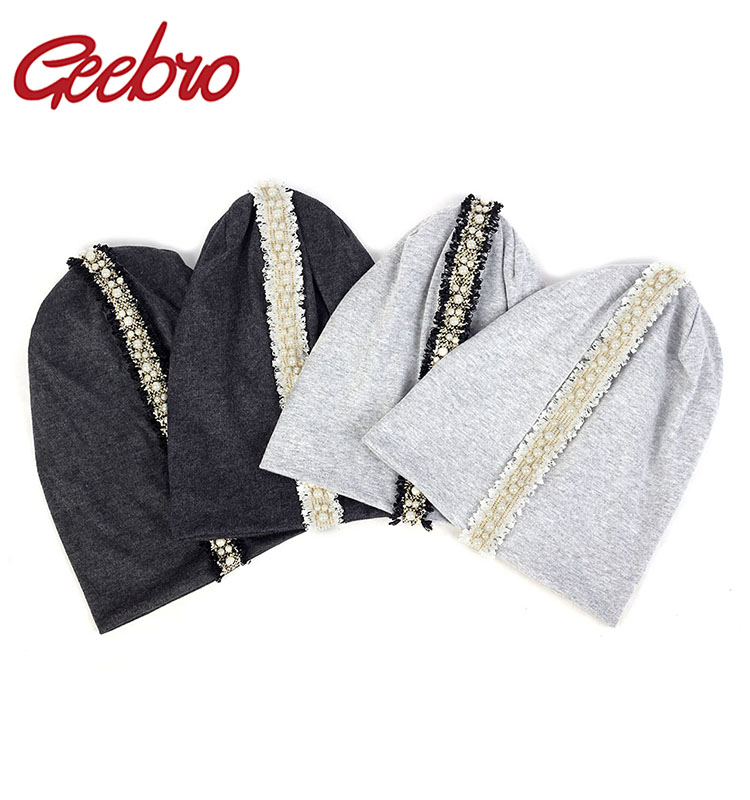 Geebro Cotton Soft Women Beanie Baggy Luxury Pearl Lace Stripe Skull Cap Adult Casual Warm Slouchy Hat For Winter Autumn